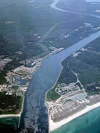 Aerial view of the Cape Cod Canal looking towards Buzzards Bay