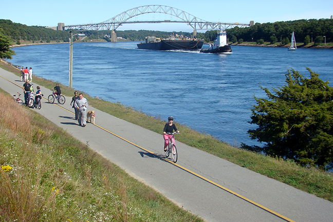 13.5 miles of paved service roads line the Cape Cod Canal. Open to the public, they are great for walking, biking and in-line skating.