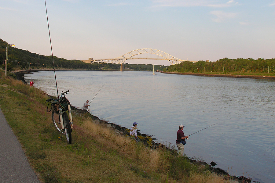 The Cape Cod Canal offers fantastic saltwater fishing opportunities from shore.