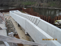 Fish ladder under construction at Turner Reservoir Dam, the third of three dams that are part of the Ten Mile River Aquatic Ecosystem Restoration Project, which will restore anadromous fish migration to the lower Ten Mile River.