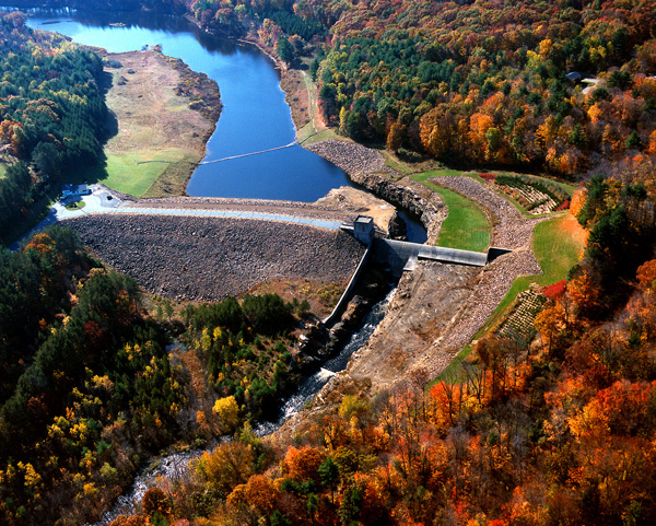 Click for hi-resolution photo of Westville Lake dam